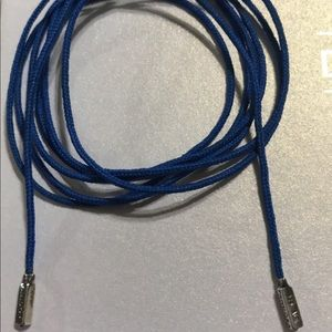 Auth Pandora Retired Blue Lariat Cord Necklace